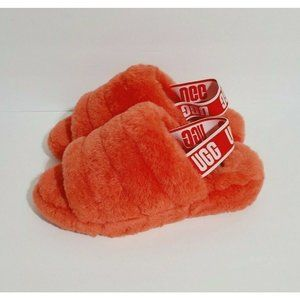 NEW Ugg Fluff Yeah Slippers Slingback Slides Lambs Fur 1095119 Size 6